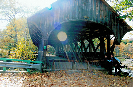 One of Maine's beautiful covered bridges on our research trip.